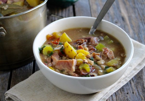Delicious bone broth soup